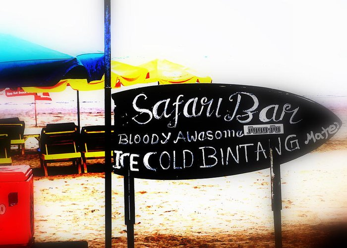 Bali Greeting Card featuring the photograph Cold Bintang At The Safari Bar In Bali by Funkpix Photo Hunter