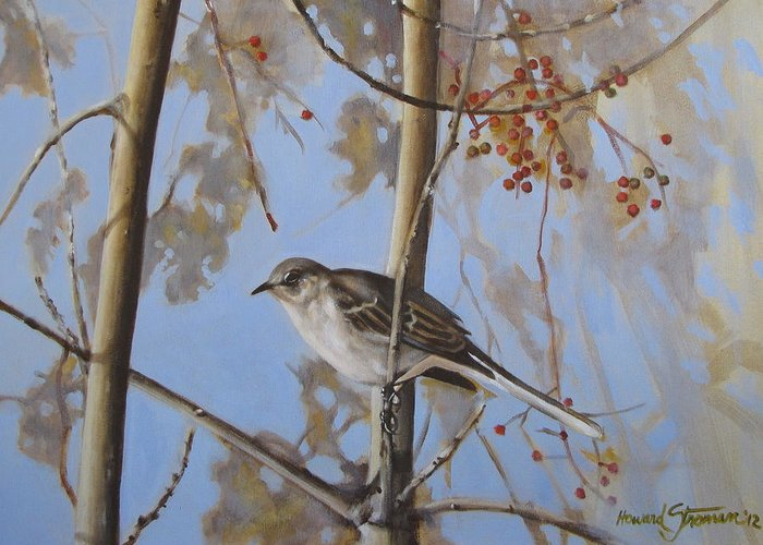 Bird;nature;outdoor;landscape;trees;sky; Greeting Card featuring the painting Cold Day by Howard Stroman
