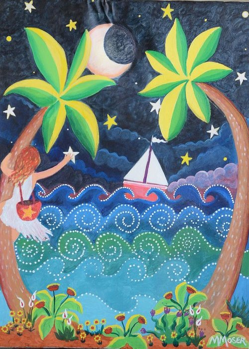 Naive Greeting Card featuring the painting Collecting Stars by Monica Moser