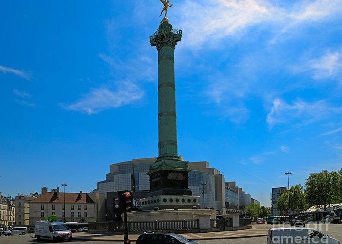 Paris Greeting Card featuring the photograph Colonne De Juillet And Opera De Paris Bastille by Louise Heusinkveld