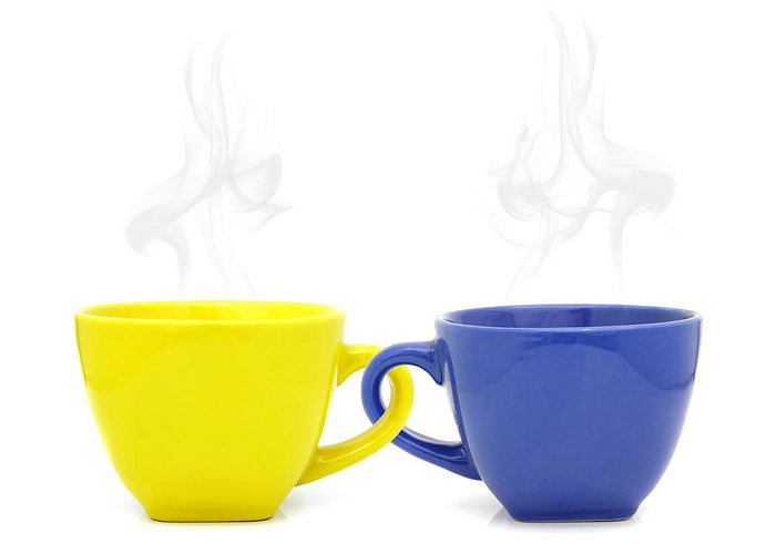 Cup Greeting Card featuring the photograph Color Cup With Hot Drink On White Background by Natthawut Punyosaeng