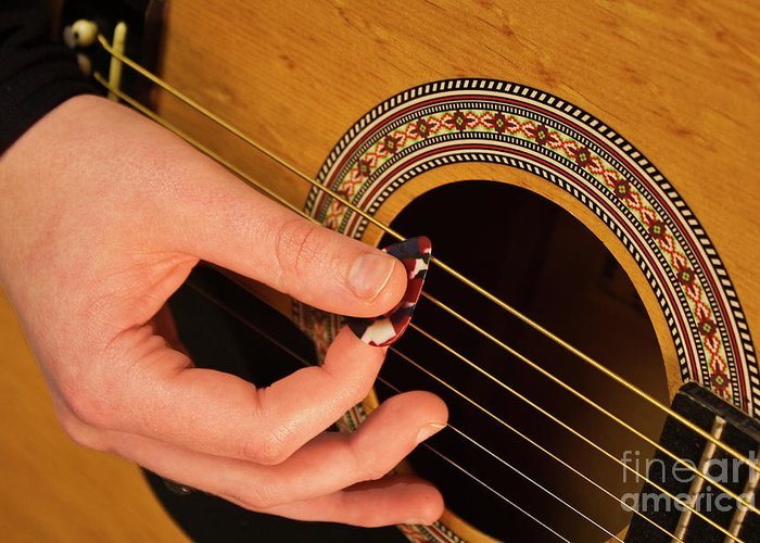 Guitar Greeting Card featuring the photograph Color Guitar Picking by Michael Waters