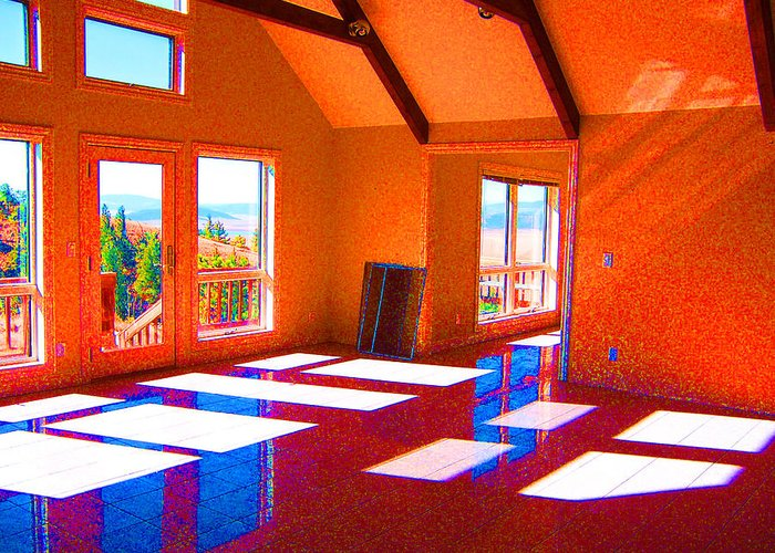 Architectural Space Greeting Card featuring the digital art Color My Space by Dee Fabian