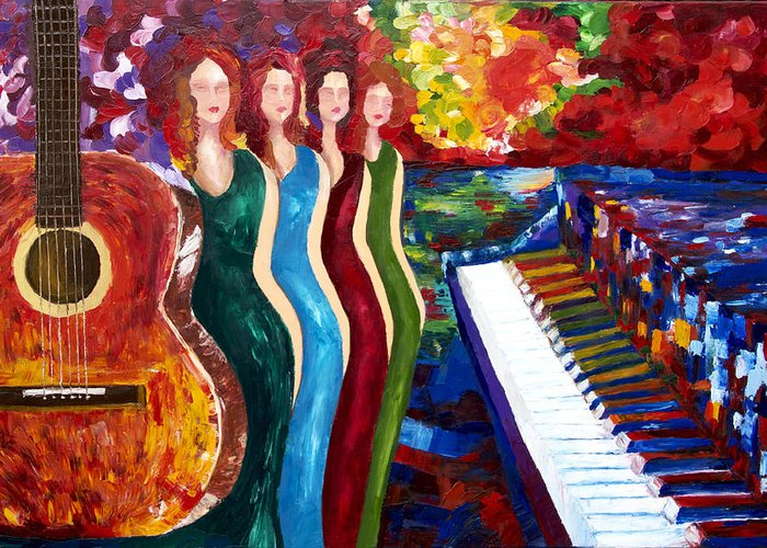 Color Greeting Card featuring the painting Color Of Music by Yelena Rubin
