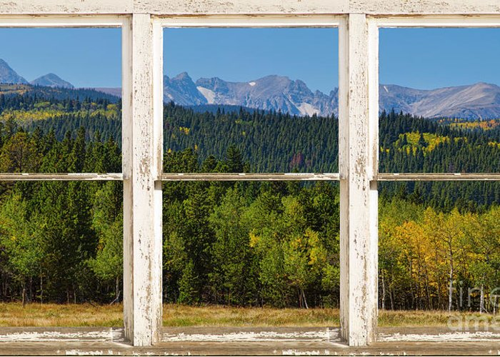 Window Greeting Card featuring the photograph Colorado Indian Peaks Autumn Rustic Window View by James BO Insogna