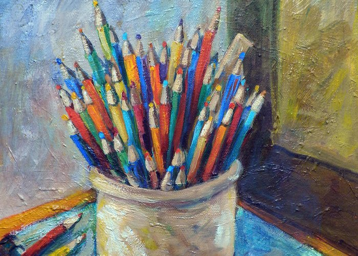 Colored Pencils Greeting Card featuring the painting Colored Pencils In Butter Crock by Jean Groberg
