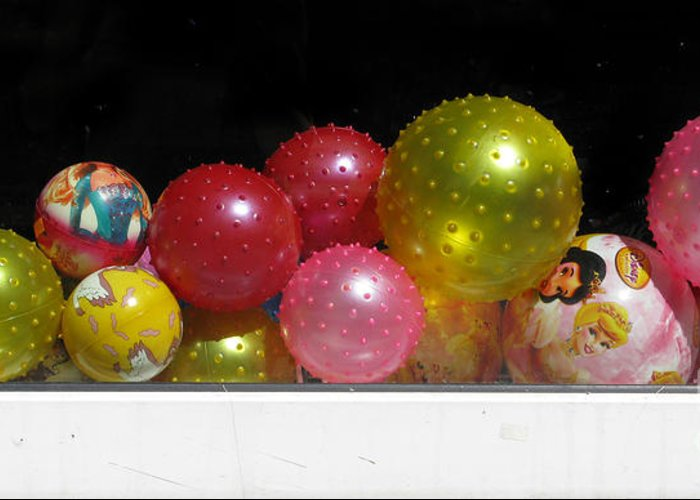 Still Life Greeting Card featuring the photograph Colorful Balls In The Shop Window by Ausra Huntington nee Paulauskaite