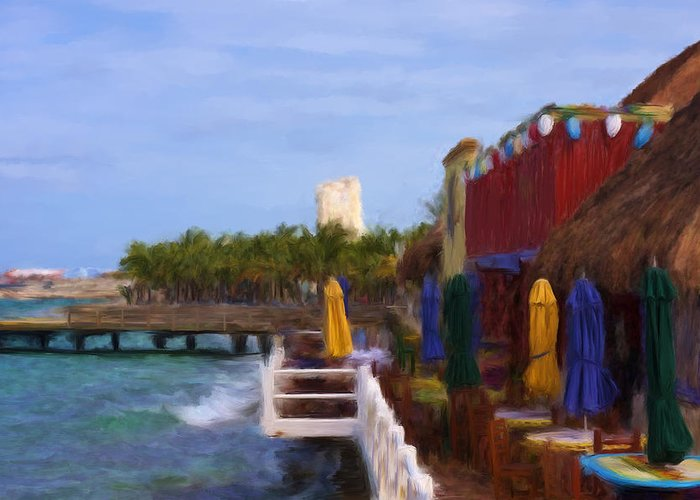 Cozumel Greeting Card featuring the mixed media Colorful Cozumel Cafe by Renee Skiba