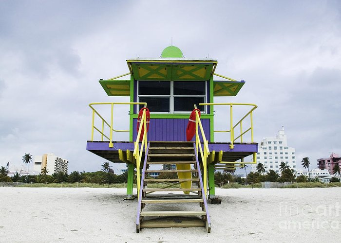 Architecture Greeting Card featuring the photograph Colorful Lifeguard Station by Jeremy Woodhouse
