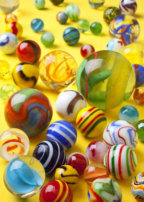 Marbles Greeting Card featuring the photograph Colorful Marbles by Garry Gay