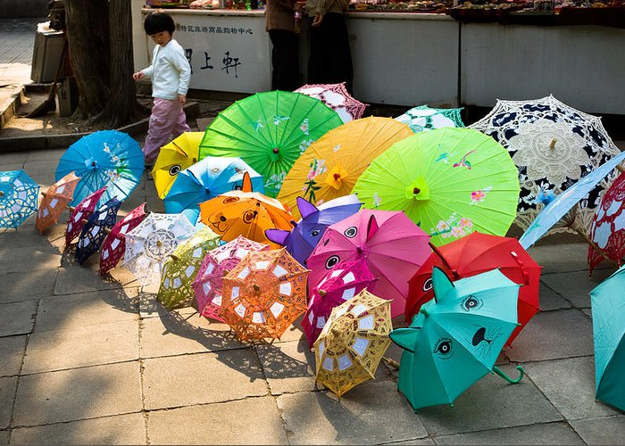 Colorful Umbrellas Greeting Card featuring the photograph Colorful Umbrellas by John Wong