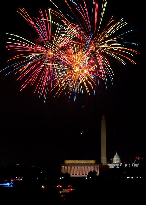 4th Of July Greeting Card featuring the photograph Colors In The Night by David Hahn