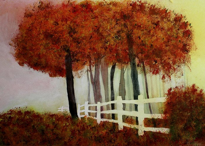 Trees Greeting Card featuring the painting Colors of Autumn by Mary Gaines