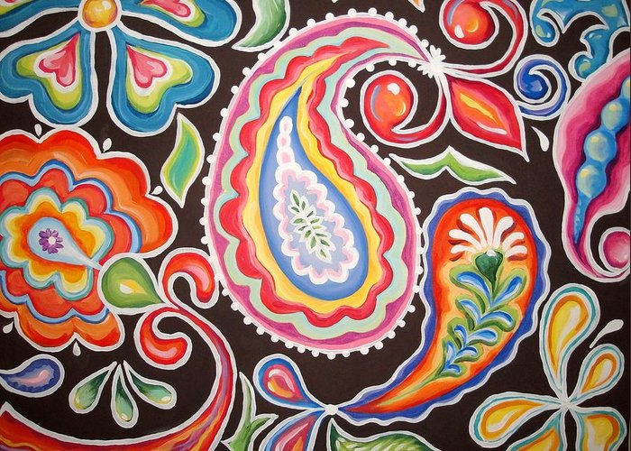 Funky Greeting Card featuring the painting Colors Of Happiness by Sandra Lett