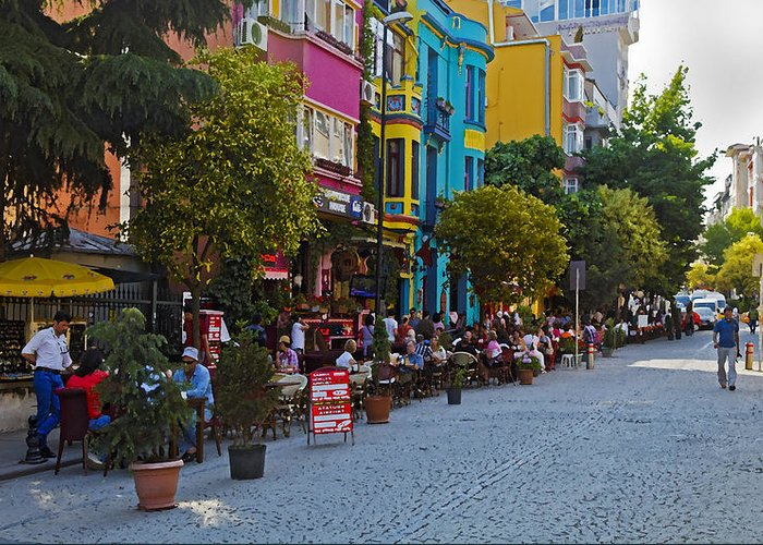 Interesting Greeting Card featuring the photograph Colors Of Istanbul Street Life by Kantilal Patel