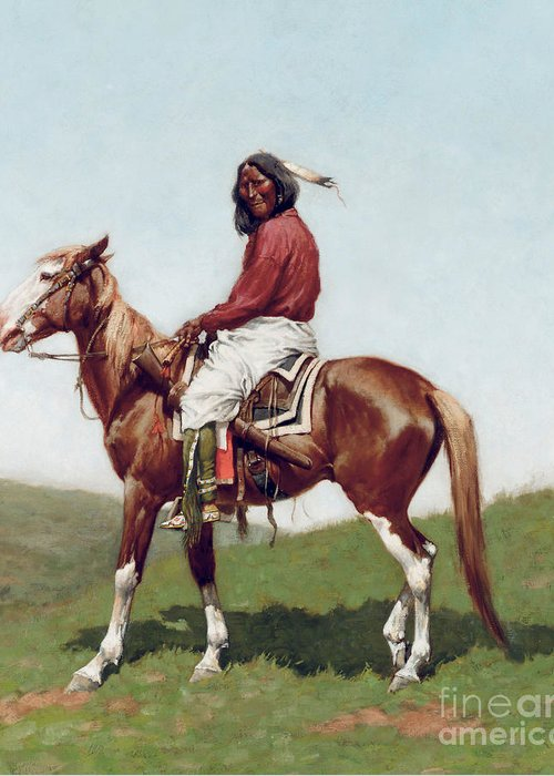 Comanche Brave Greeting Card featuring the painting Comanche Brave by Frederic Remington