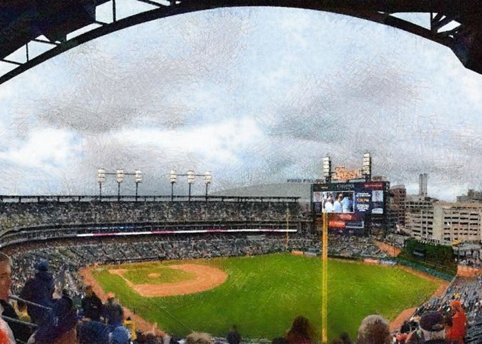 Detroit Greeting Card featuring the photograph Comerica Park Home Of The Detroit Tigers by Michelle Calkins