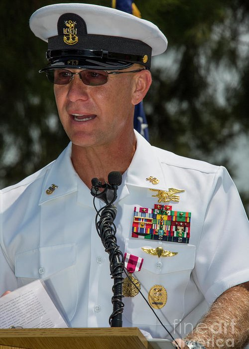 Military Greeting Card featuring the photograph Command Master Chief Bryan Yarbro by Michael Wood