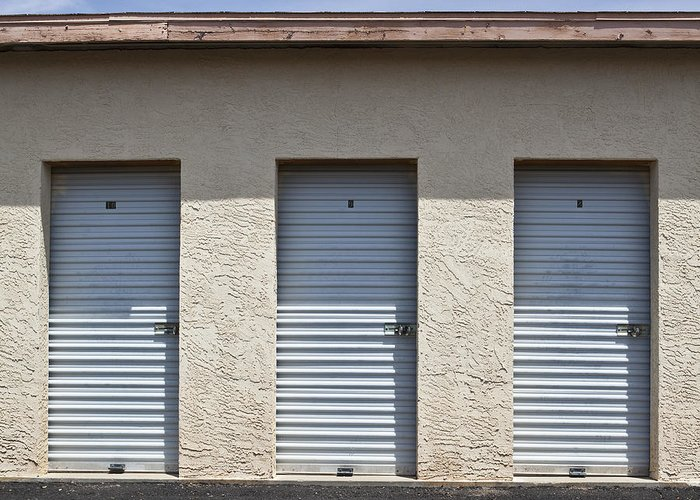 Architectural Detail Greeting Card featuring the photograph Commercial Storage Facility by Paul Edmondson