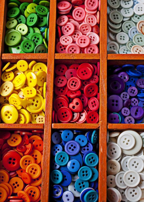Compartments Greeting Card featuring the photograph Compartments Full Of Buttons by Garry Gay