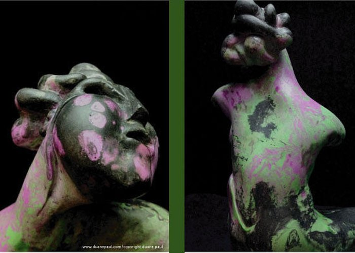 Figurative Greeting Card featuring the sculpture Compensation-black-lavender-green by Duane Paul