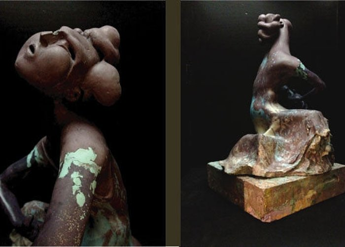 Figurative Greeting Card featuring the sculpture Compensation-deep Maroon-light Blue-kaki by Duane Paul
