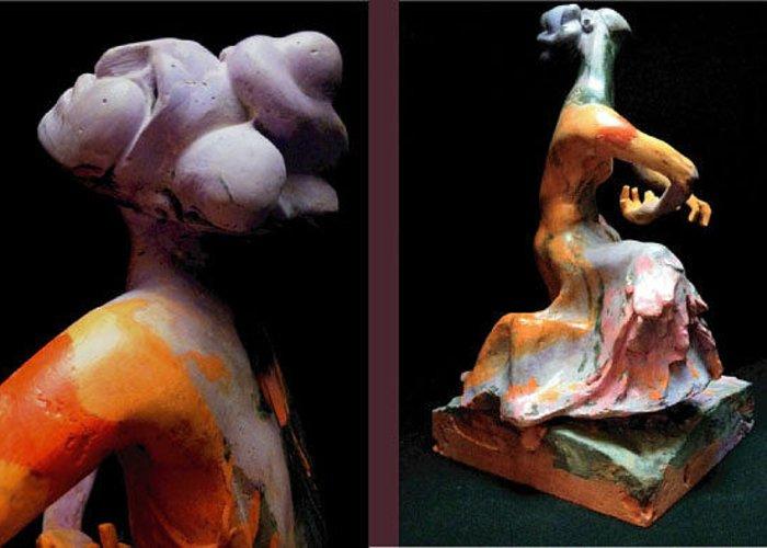 Figurative Greeting Card featuring the sculpture Compensation-orange-dusty Purple-black by Duane Paul