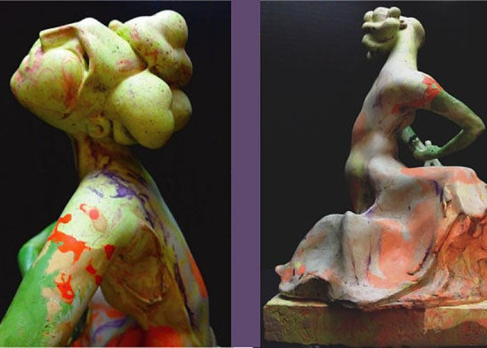 Figurative Greeting Card featuring the sculpture Compensation-orange-light Green-blush Orange- Lemon Yellow by Duane Paul