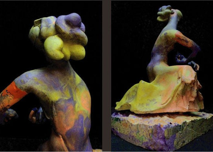Figurative Greeting Card featuring the sculpture Compensation-orange-purple-yellow by Duane Paul