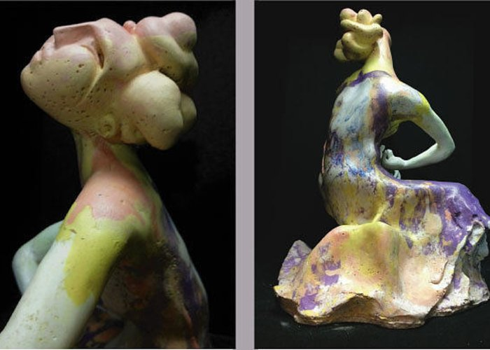 Figurative Greeting Card featuring the sculpture Compensation-power Pink-white-purple by Duane Paul