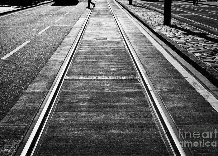 Princes Greeting Card featuring the photograph Completed Tram Rails On Princes Street Edinburgh Scotland Uk United Kingdom by Joe Fox