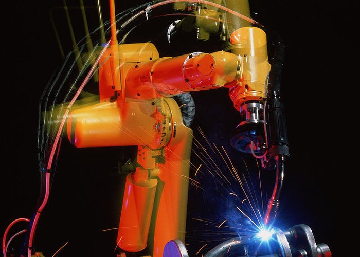 Computer Controlled Robot Greeting Card featuring the photograph Computer-controlled Electric Arc-welding Robot by David Parker, 600 Group Fanuc