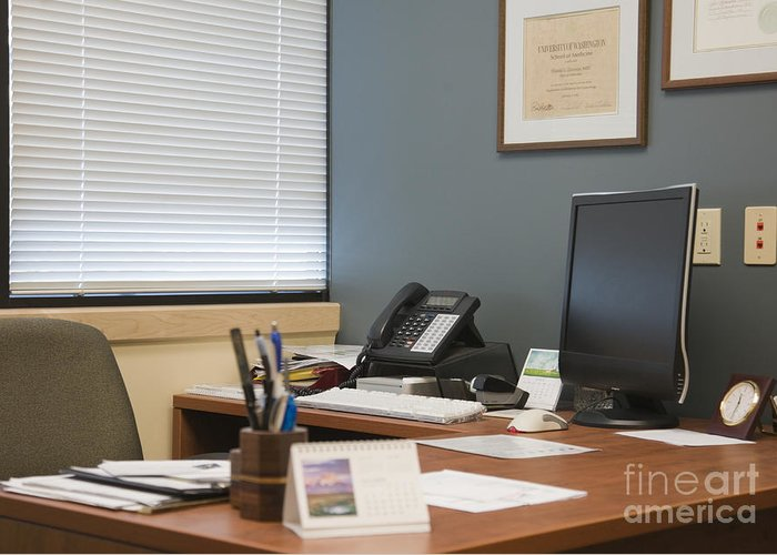Blinds Greeting Card featuring the photograph Computer Monitor And Office Space by Andersen Ross