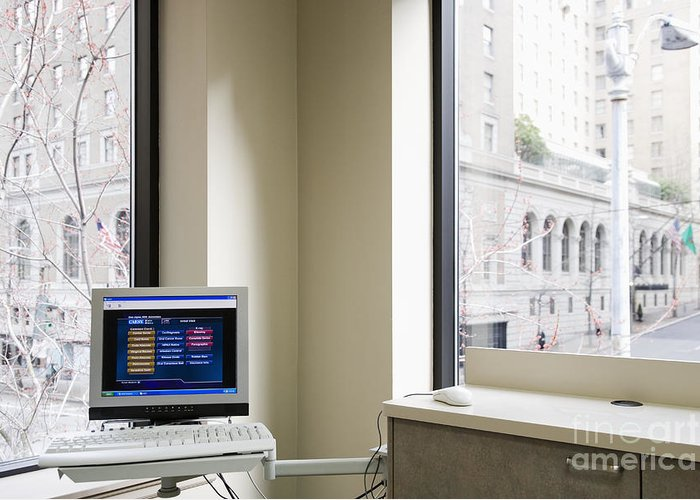 Architectural Detail Greeting Card featuring the photograph Computer Screen And Keyboard by Andersen Ross