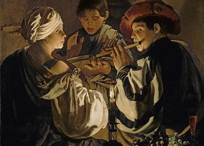 Flute Player; Flute; Musician; Chiaroscuro; Singing; Trio; Lute; Flautist Greeting Card featuring the painting Concert by Hendrick Ter Brugghen
