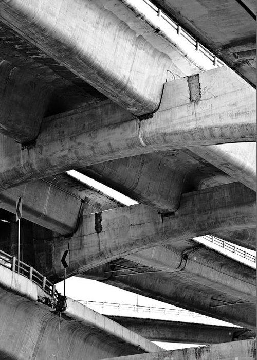 Concrete Greeting Card featuring the photograph Concrete Jungle Canopy by L E Jimenez