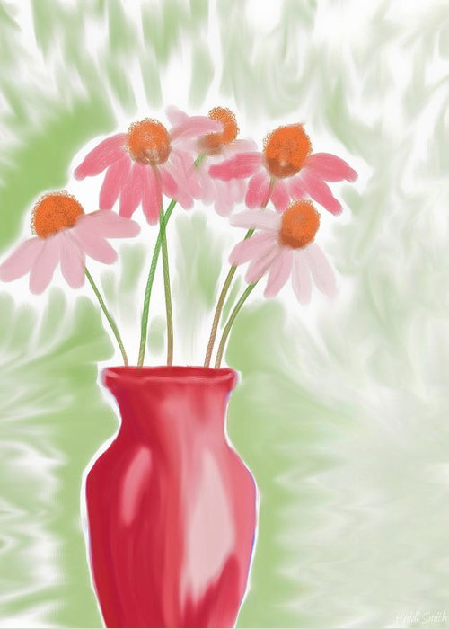 Vase Greeting Card featuring the painting Coneflower Still Life by Heidi Smith