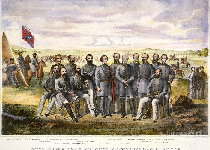 1860s Greeting Card featuring the photograph Confederate Generals by Granger