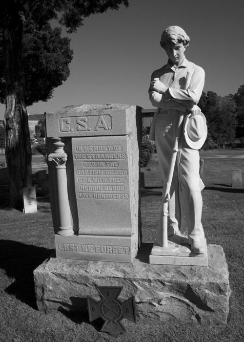 Csa Greeting Card featuring the photograph Confederate Soldier Memorial by Kathy Clark