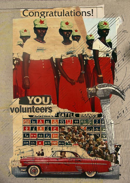 Collage Greeting Card featuring the mixed media Congratulations You Volunteers by Adam Kissel