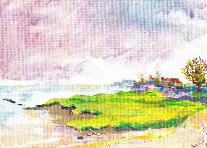Shore Greeting Card featuring the painting Connecticut Shore by Vannucci Fine Art