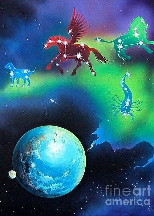 Fantasy Greeting Card featuring the painting Constellations by Kimberlee Ketterman Edgar