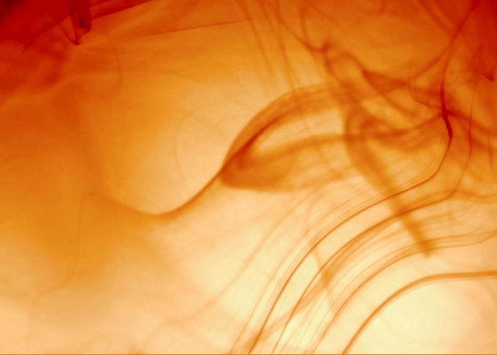 Orange Abstract Greeting Card featuring the photograph Contemporary Abstract Smoke Wisps by Tracie Kaska