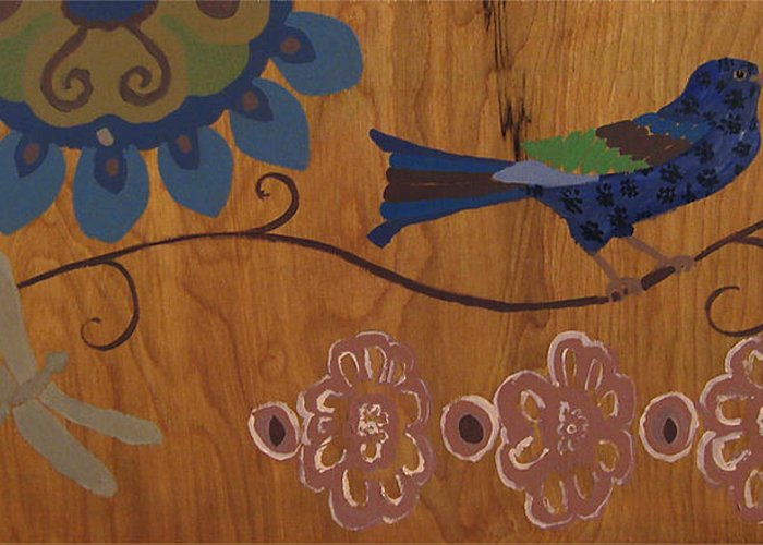 Bird Painting Greeting Card featuring the mixed media Contemporary Whimsical Bird On A Wire In Pastel-like Colors With Flowers And Dragonfly by M Zimmerman