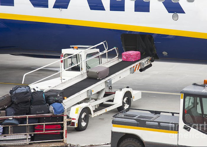 Air Travel Greeting Card featuring the photograph Conveyor Unloading Luggage by Jaak Nilson