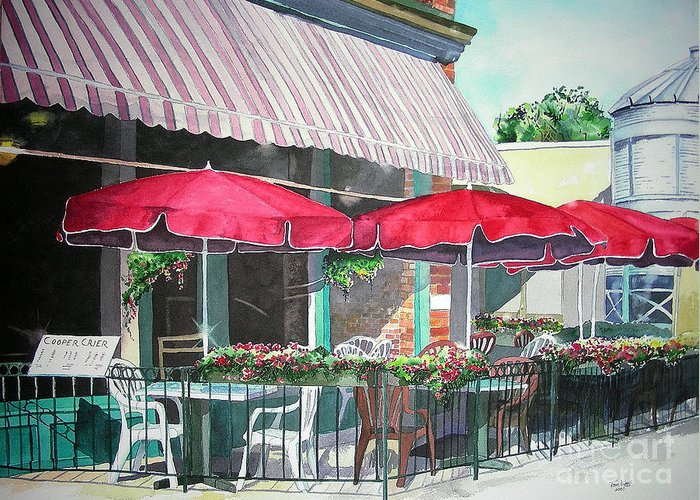 Fort Collins Greeting Card featuring the painting Coopersmith's Pub by Tom Riggs