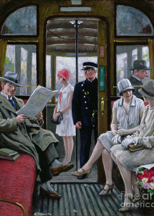 Flowers; Gloves; Cloche Hat; Trilby; Chatter; Gossip; Commuter; City Life; Commuting; Tavelling; Transport; Public; Women; Man; Girl; Passengers; Guard; Ticket Collector; Bouquet; Bunch; Carriage; Reading; Newspaper Greeting Card featuring the painting Copenhagen Tram by Paul Fischer