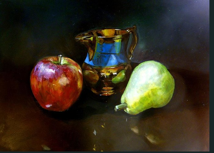Still Life Oil John Williams Greeting Card featuring the painting Copper Creamer by John Norman Williams