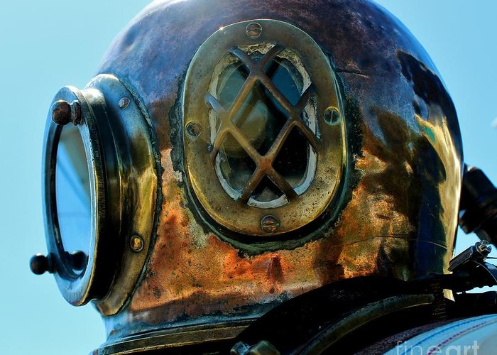 Dive Helmet Greeting Card featuring the photograph Copper Head by Rene Triay Photography