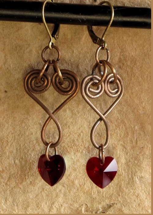 Jewelry Greeting Card featuring the jewelry Copperhearts by Jan Brieger-Scranton